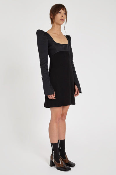 Heritage Puff Dress Black