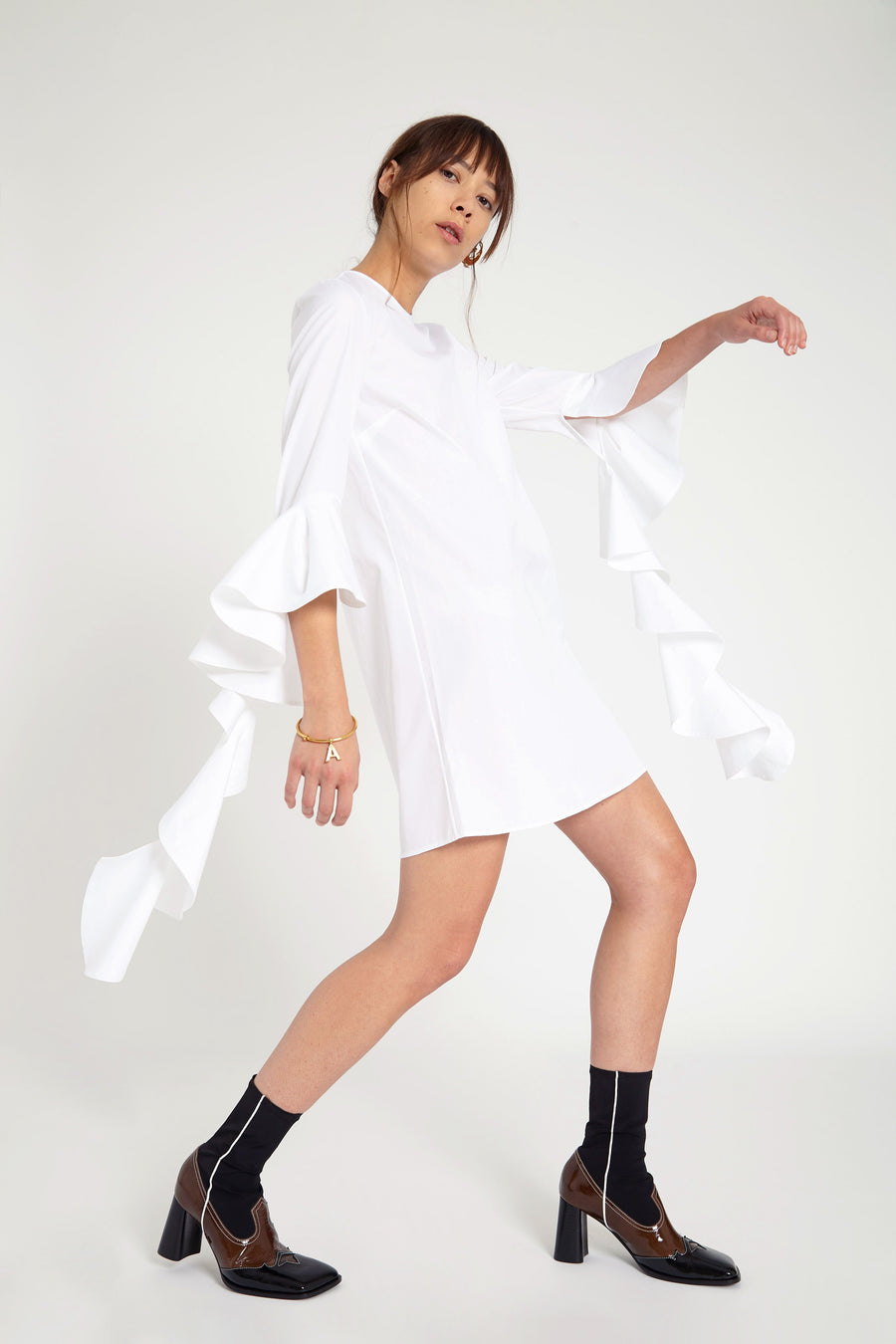 KILKENNY DRESS IN SHIRTING WHITE