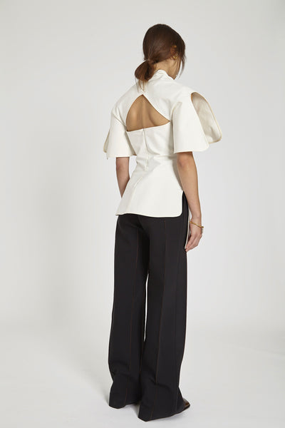 Own Ego Cinched Neck Top Ivory