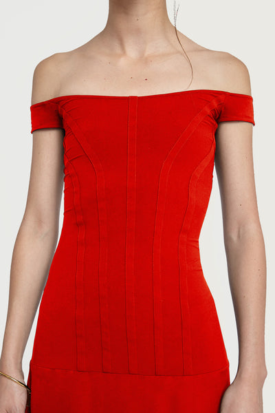 Odilon Off Shoulder Dress Red