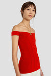 Yandex Off Shoulder Corset Top Red