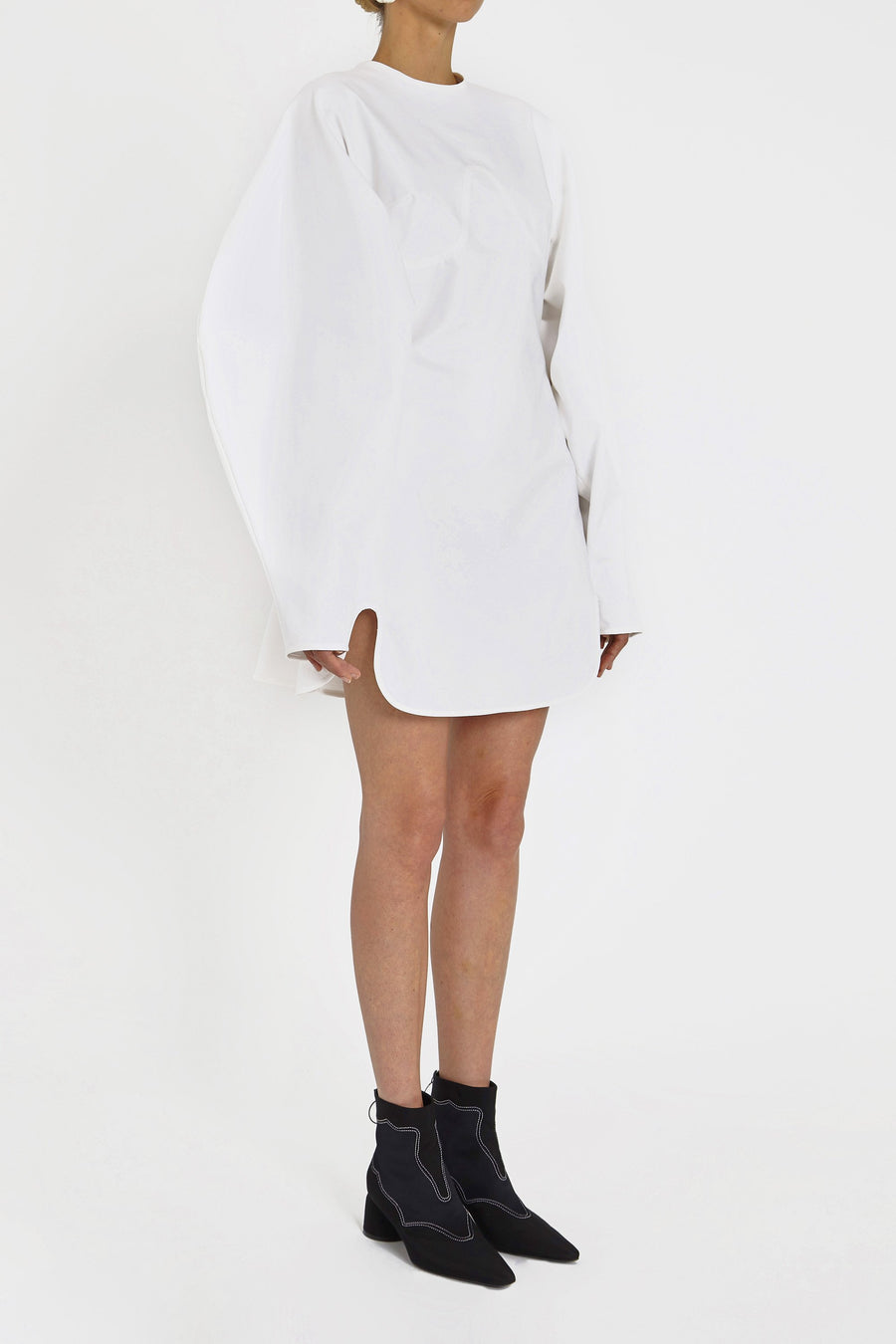 Teeny Voluminous Sleeve Dress White