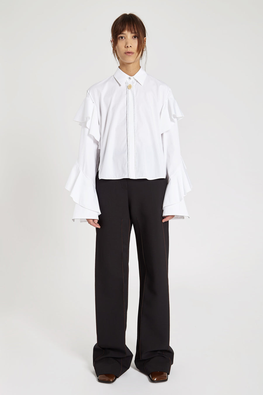 Voltaire Frill Sleeve Shirt White