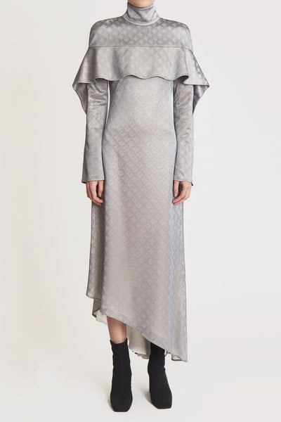 Empirical High Collar Dress W Front Ruffle Silver