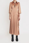 Cascais Asymmetrical Front Zip Dress Tan