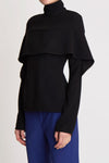Canonize High Collar Top W Front Ruffle Black