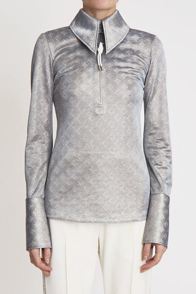 Mcshine Jersey Blouse W Front Zip and Tab Silver