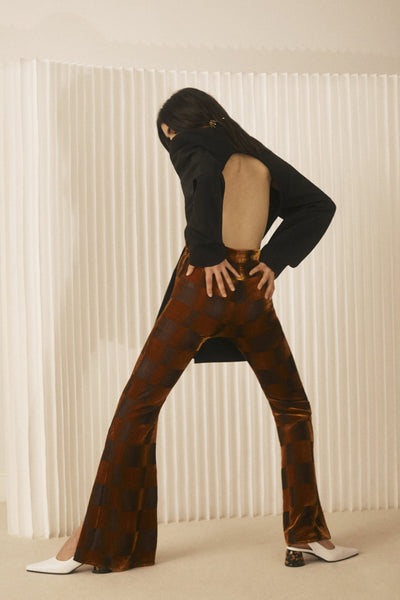Alvar Velvet Flares Orange w Brown