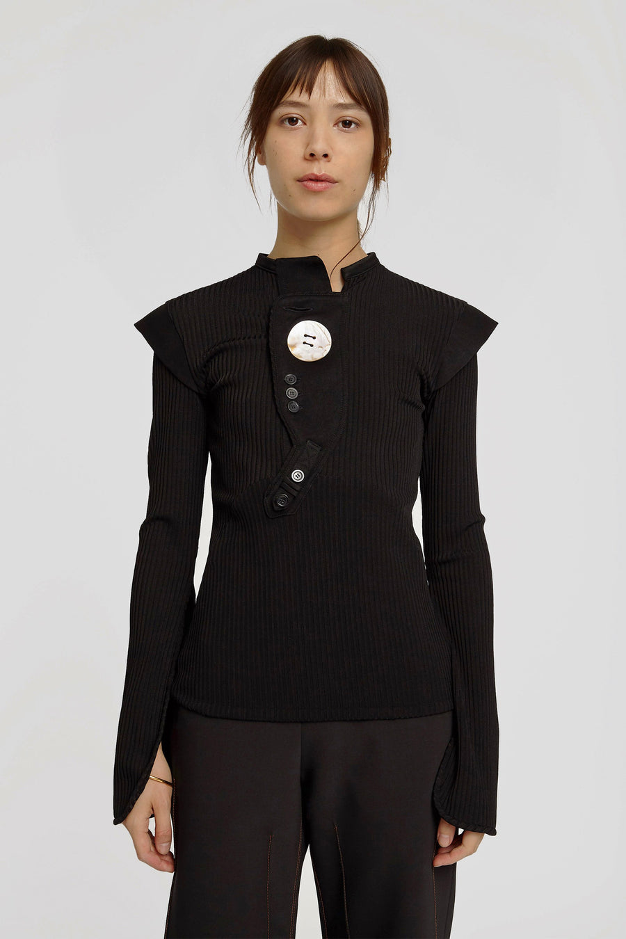 Erratum Placket Rib Top Black