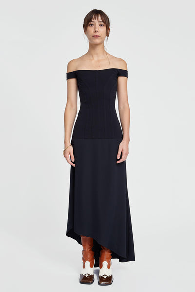 Odilon Off Shoulder Dress Black