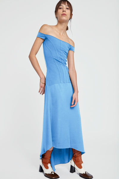 Odilon Off Shoulder Dress Blue