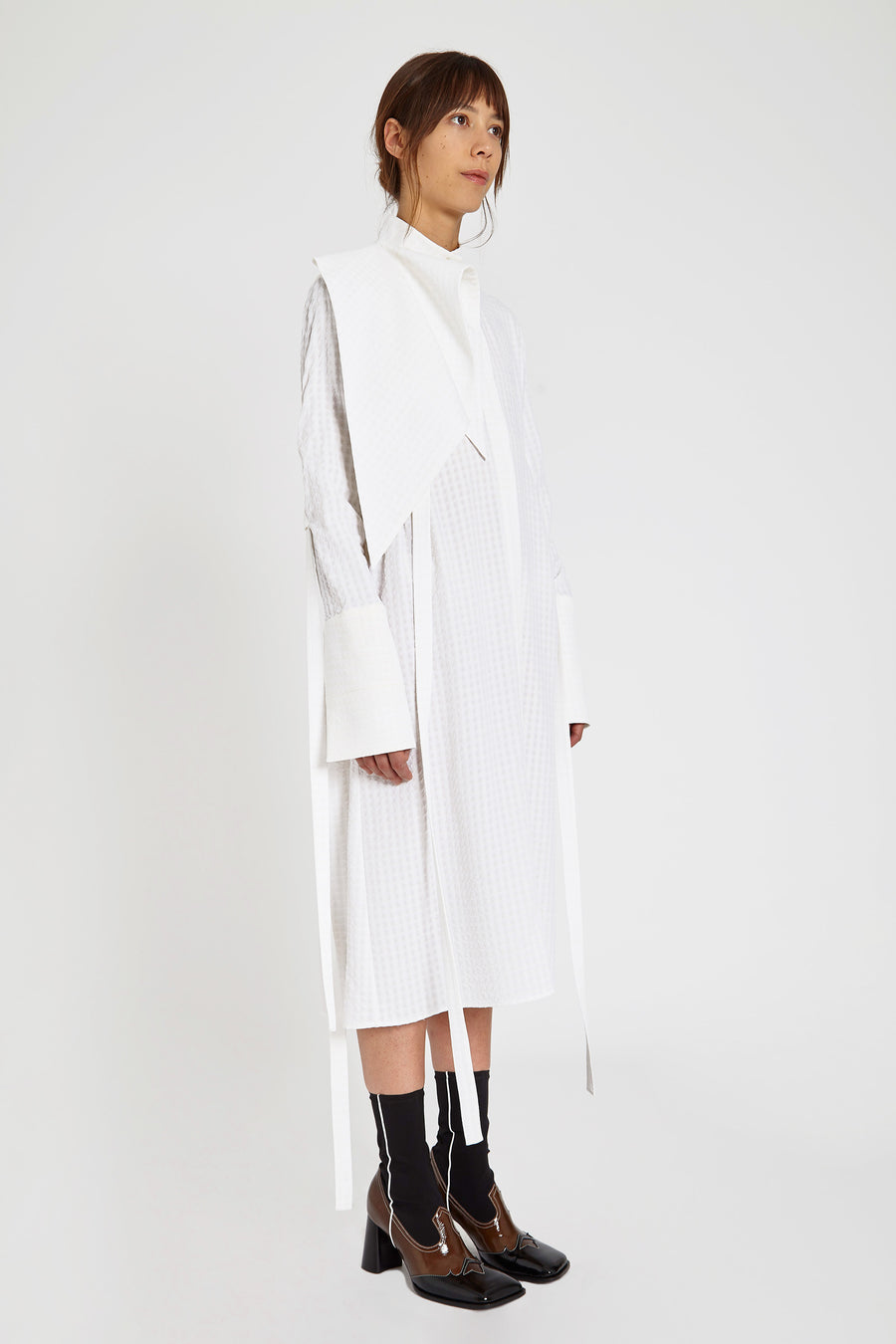 Zeni Shirt Dress With Scarf