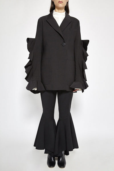 Gold Band Ruffle Sleeve Jacket Black