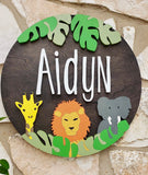 "18"" Safari Round Name Sign - the-beautiful-birch"