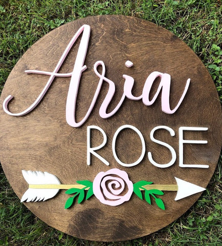 "23"" Rose Arrow Sign - the-beautiful-birch"