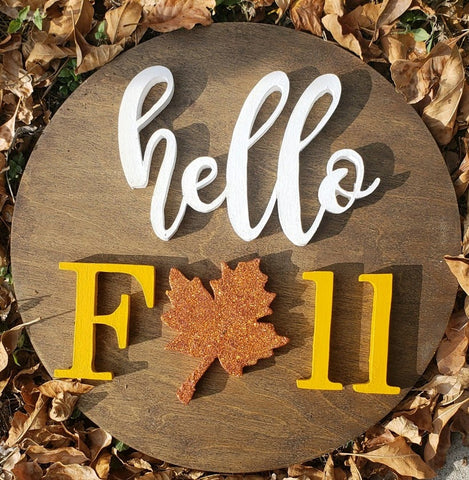 "12"" Hello Fall Sign - the-beautiful-birch"