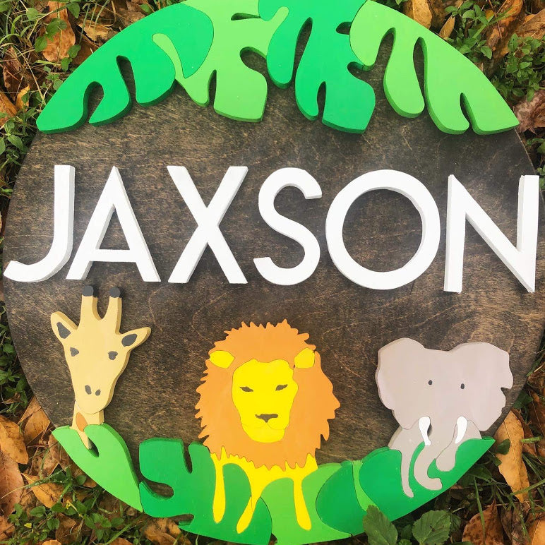 "23"" Safari Round Name Sign"
