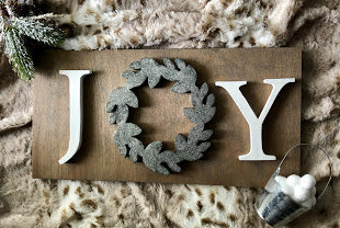 "16X8"" Glittered Joy Wreath Christmas Sign"