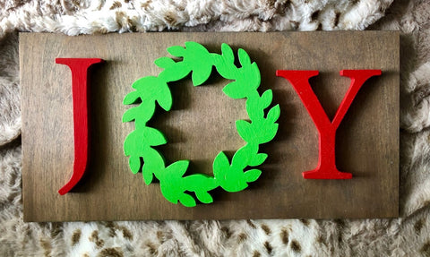 "Copy of 16X8"" Red Joy Wreath Christmas Sign"