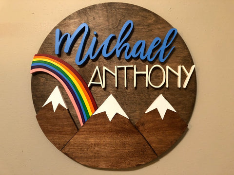 "18"" Rainbow Mountains Sign - the-beautiful-birch"
