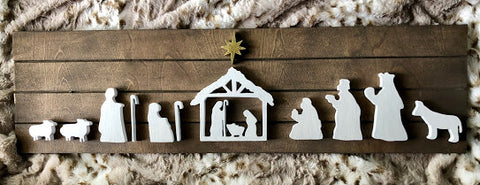 "30X9"" Shiplap Nativity Scene Sign"