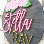 "23"" Custom Hydrangeas Name Sign - the-beautiful-birch"