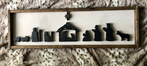 "30X9"" Framed Nativity Scene Sign"