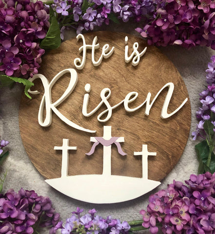 "12"" He is Risen Sign - the-beautiful-birch"