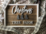 "19X13"" Silver Christmas Tree Farm Sign"