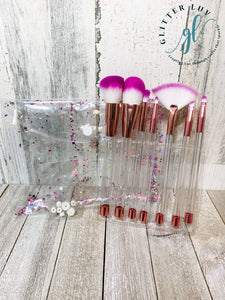 Glitter Luv Accessories Purple & White - Rose Gold Finish Makeup 7 Piece Set DIY Make-Up Brush Set