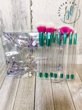Load image into Gallery viewer, Glitter Luv Accessories White & Purple - Teal Finish Makeup 7 Piece Set DIY Make-Up Brush Set
