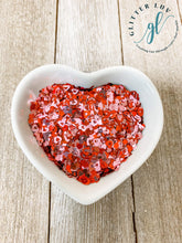 Load image into Gallery viewer, Glitter Luv Shapes 0.5oz Shaker XOXOXO Shapes