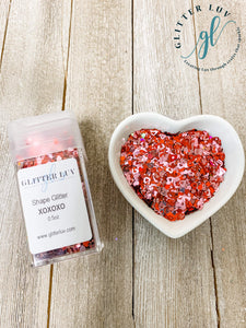 Glitter Luv Shapes 0.5oz Shaker XOXOXO Shapes