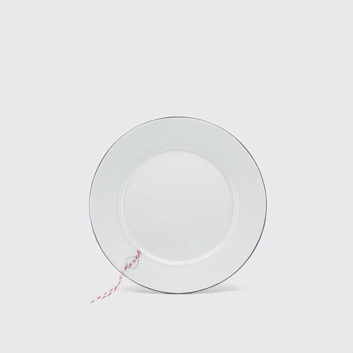 White Enamel Steel Plates - set of 4