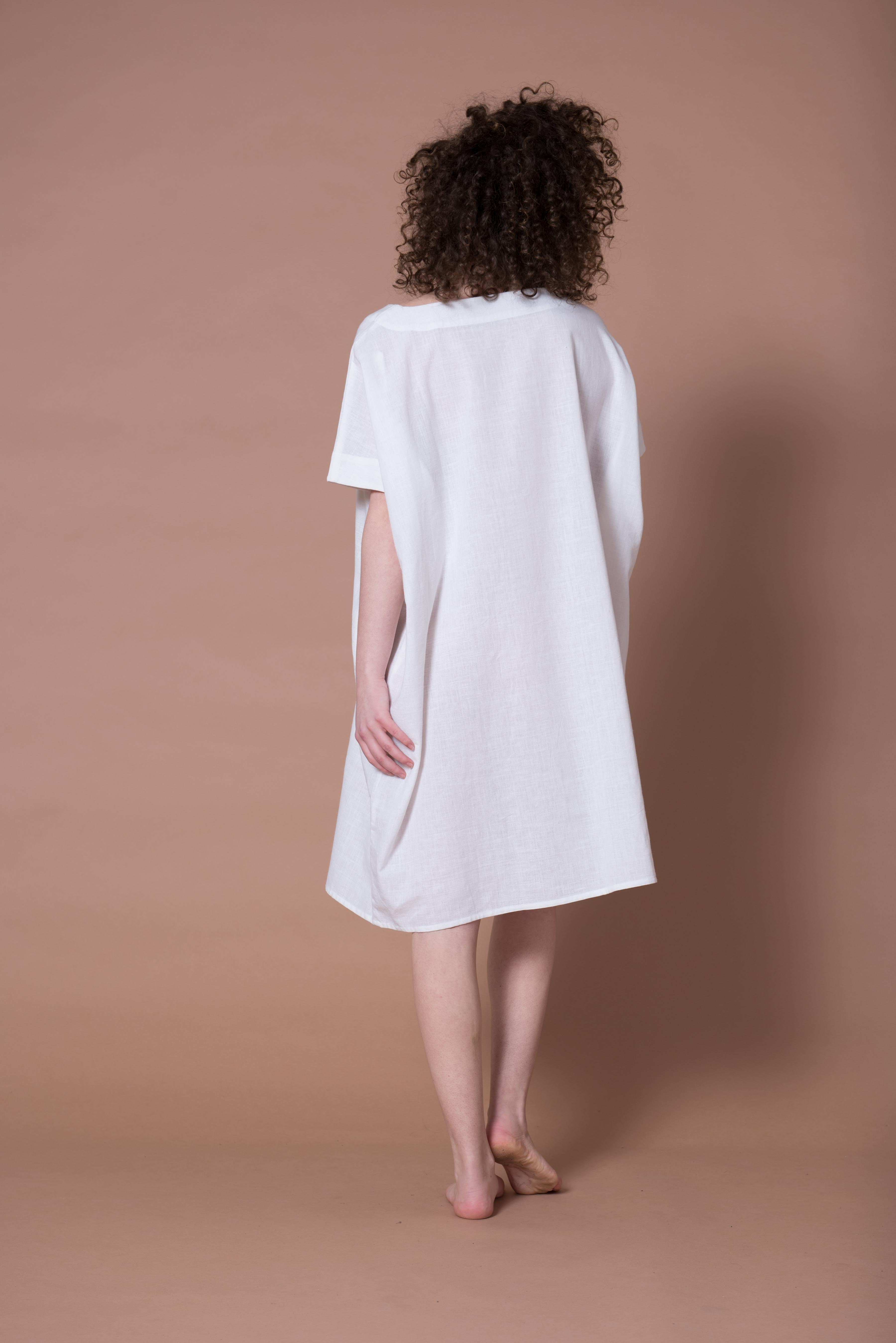 HAND LOOMED COTTON DRESS - WHITE