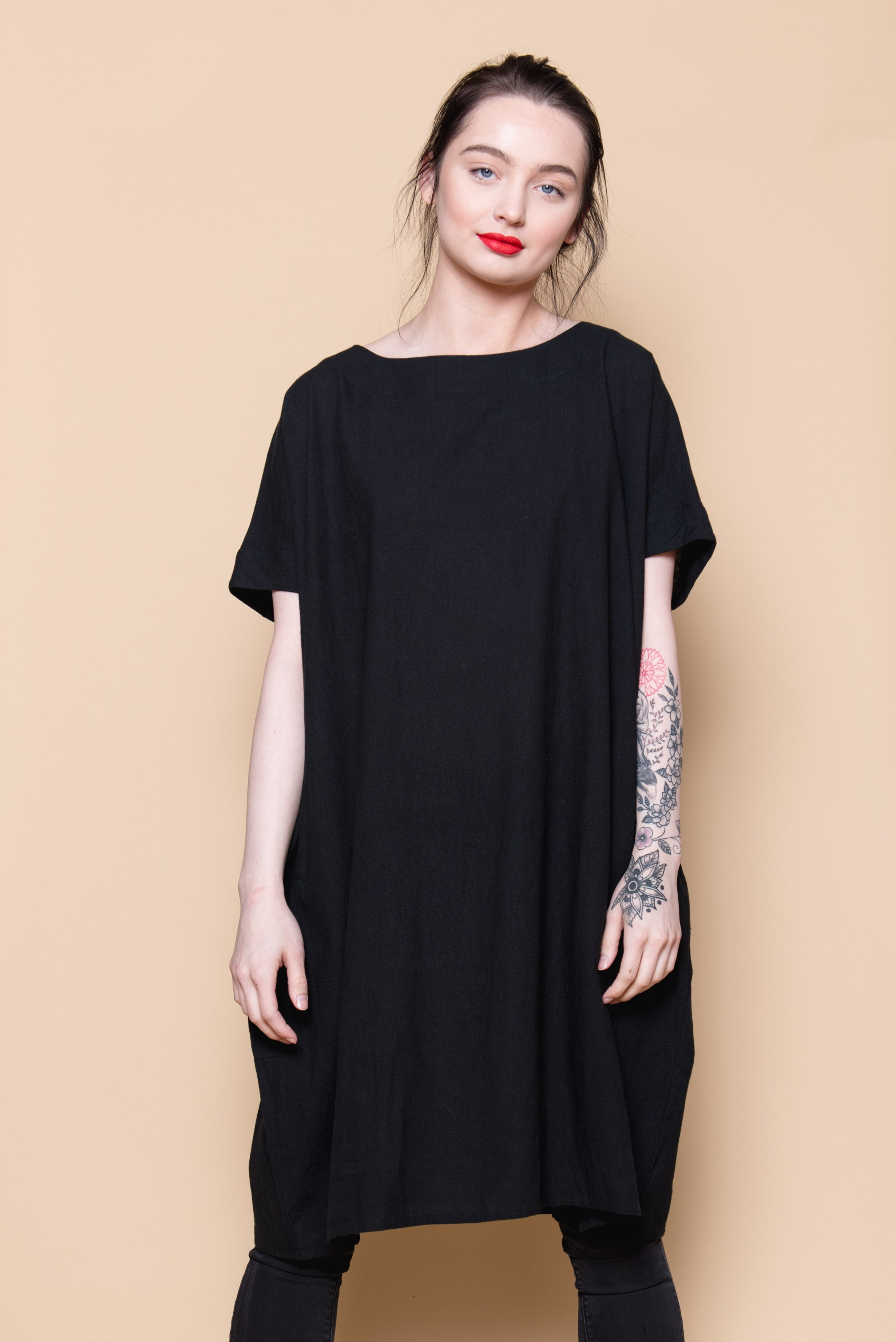 HAND LOOMED COTTON DRESS - BLACK