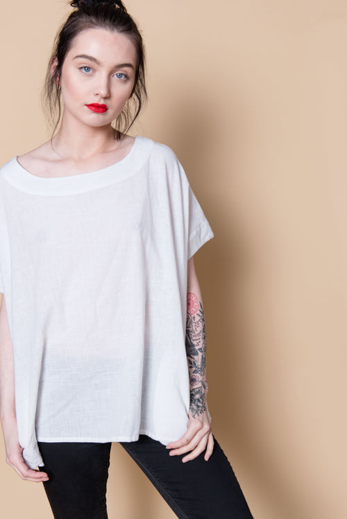 HAND LOOMED COTTON TOP - WHITE