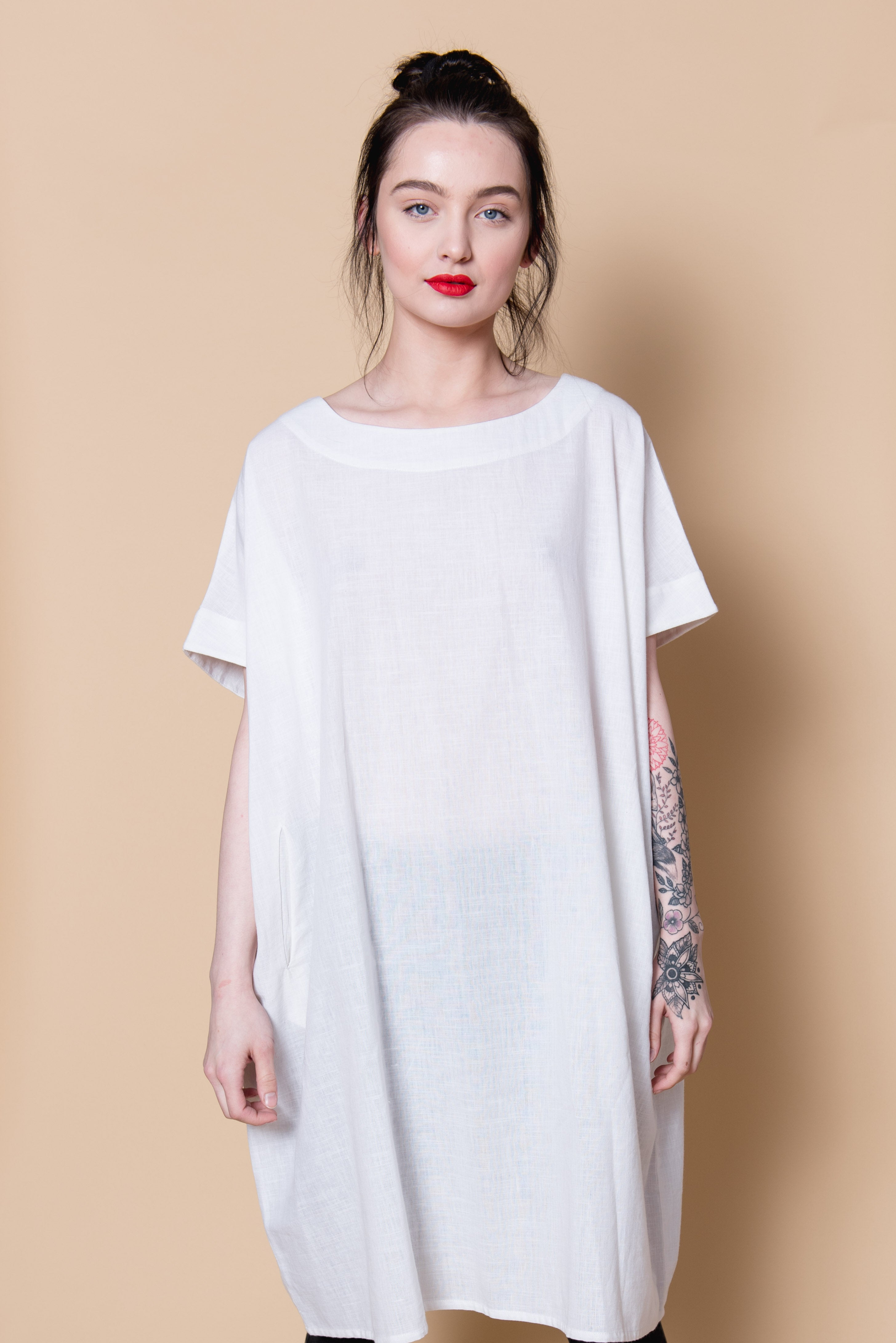 HAND LOOMED COTTON TUNIC - WHITE