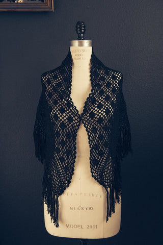 Handmade crochet collar made in Italy - Nero