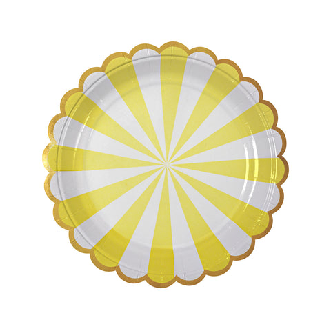 Yellow Fan Striped Plates (small)