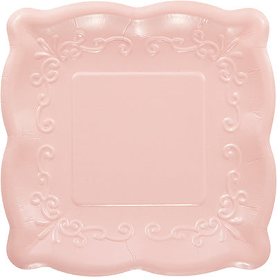 Pink Scalloped Embossed Dessert Plate