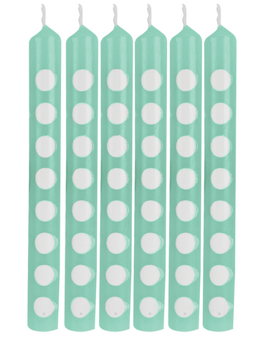 Mint Polka Dot Candles