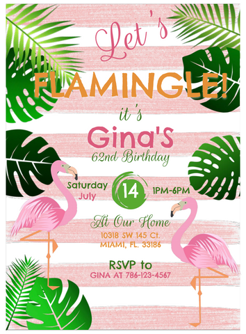 Let's Flamingle Party Invite (PDF Download)