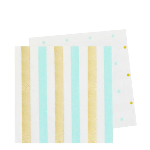 Gold and Mint Dots & Stripes Napkins (small)
