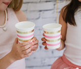 Gold & Pink Stripe Cup