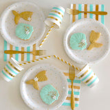 Gold and Mint Dots & Stripes Napkins (large)