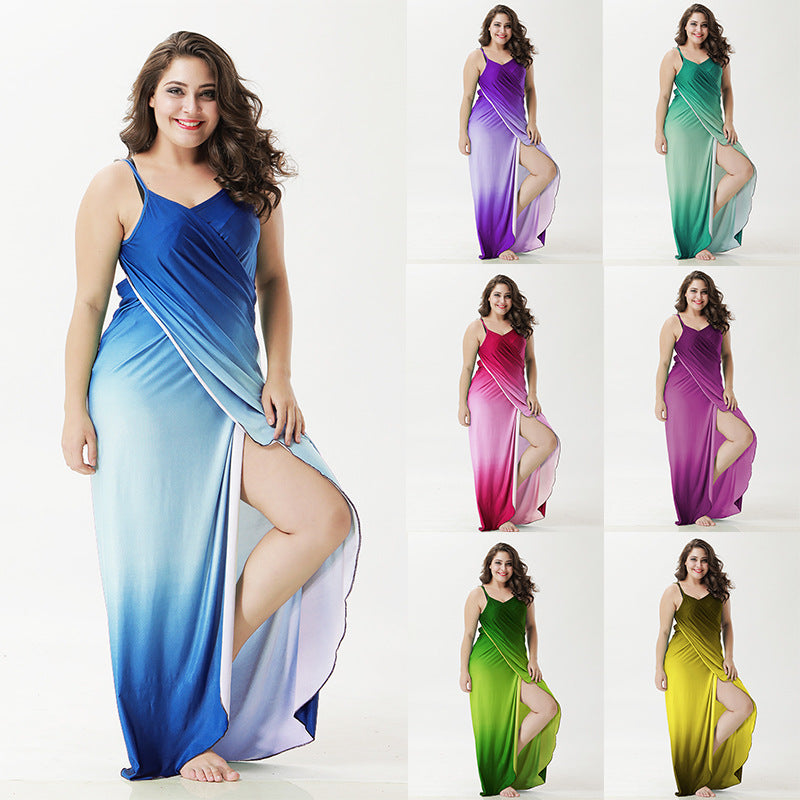 Robe Plage Gradient Long Dress Plus Size Cover Ups OneShopee - OneShopee #1 Best Selling Luxury Cheap Sexy Swimwear Online Store