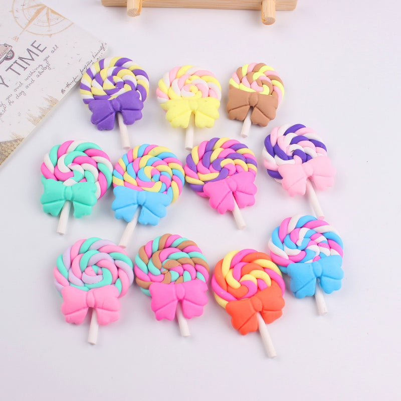 10 pieces/lot polymer clay lollipop with bow mix colors DIY resin cabochons (FREE SHIPPING) Slime Supplies OneShopee - OneShopee #1 Best Selling Luxury Cheap Sexy Swimwear Online Store