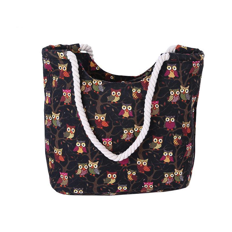 Owl Printed Large Bag Beach Bags OneShopee - OneShopee #1 Best Selling Luxury Cheap Sexy Swimwear Online Store