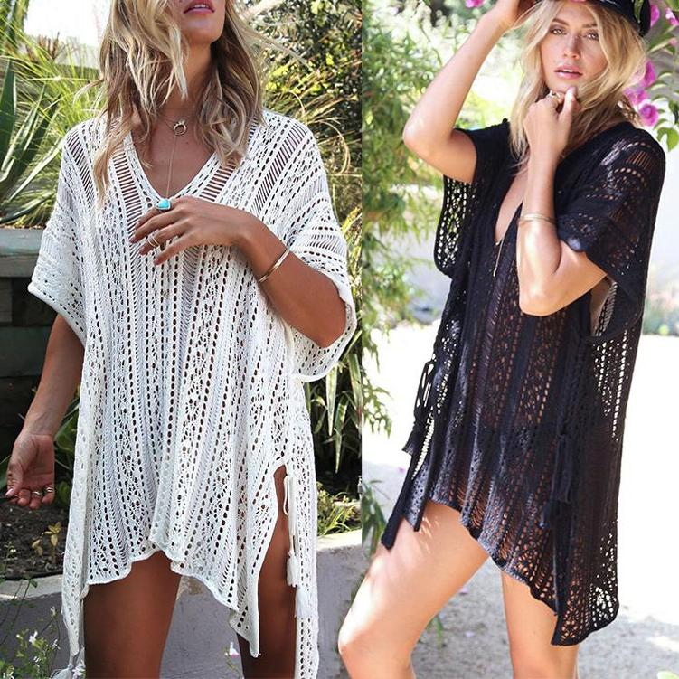 Crochet Knitted Tassel See-through Cover Ups OneShopee - OneShopee #1 Best Selling Luxury Cheap Sexy Swimwear Online Store